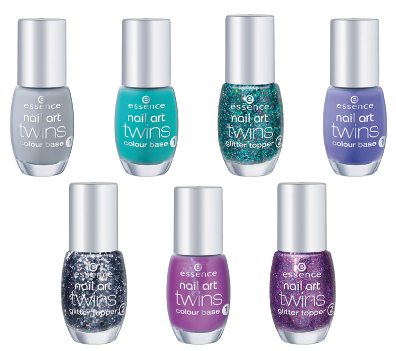 essence nail art twins base colorata glitter top coat