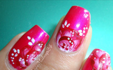 Tutorial Nail Art One Stroke pink
