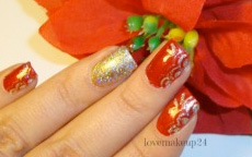 Tutorial Nail Art Holiday's Brilliant GoldRed Accent
