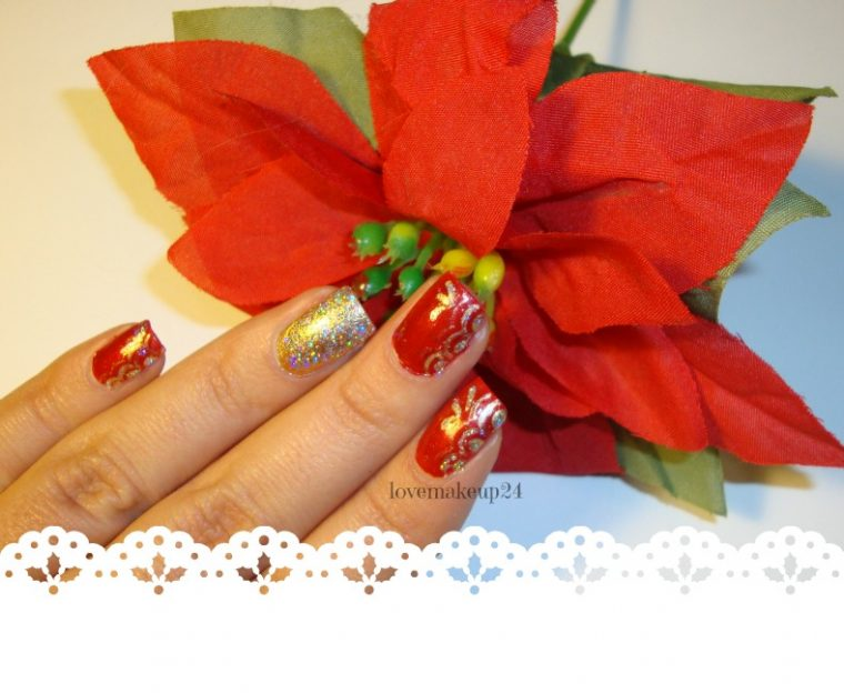 Tutorial Nail Art Natale Holiday Brilliant Gold Red Accent