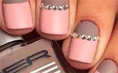 nail art last minute strass matt rosa grigio salvabuchi